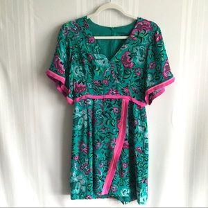 Nanette Lepore Floral Lotus 100% Silk Mini Dress